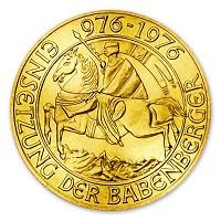 1000 schilling Babenberger 1976 befektetési aranyérme .900