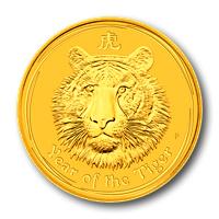 Tigris éve 2010 befektetési aranyérme 1 uncia