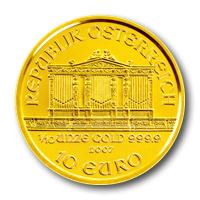 Bécsi Filharmonikusok aranyérme 1/10 uncia