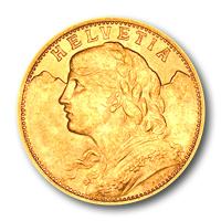 Helvetia-Vreneli, befektetési aranyérme Svájc
