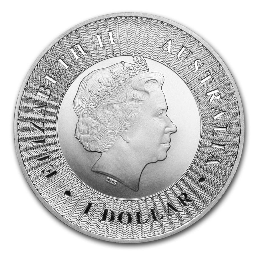 Az Ausztrál Kenguru ezüstérme előlapján II. Erzsébet királynő arcmása látható