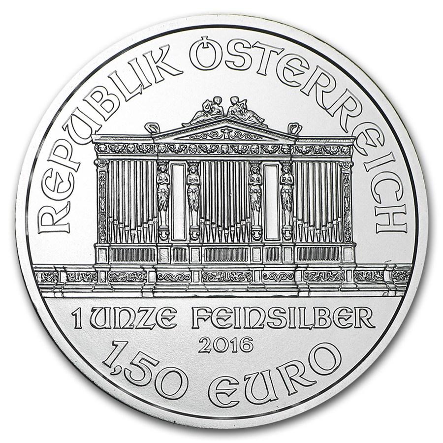 2016 Ausztria Bécsi Filharmonikusok 1 unciás ezüstérme előlapja
