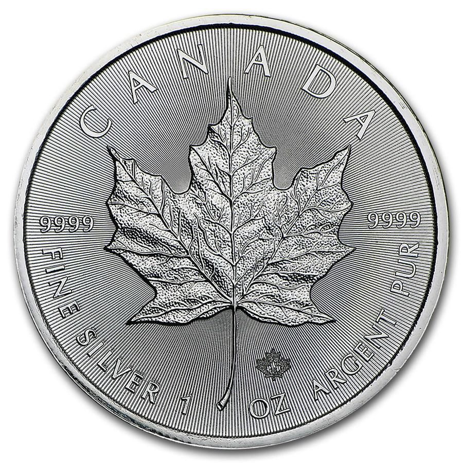 2016 Kanadai Maple Leaf befektetési ezüstérme hátlapja.