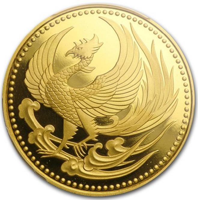 Főnix madár egy japán befektetési aranyérmén