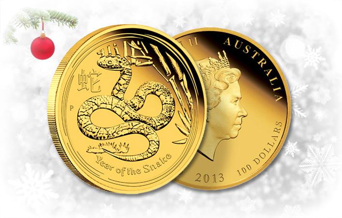 Kígyó Éve 2013. befektetési aranyérme .9999 az Ausztrál Perth Mint kiadásában