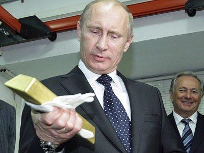 Putyin egy aranyrúddal. Forrás: businessinsider.com, Conclude Zrt.