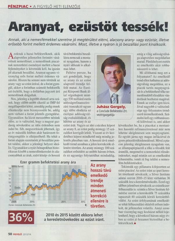 Aranyat, ezüstöt tessék - A Figyelő gazdasági hetilap riportja Juhász Gergellyel