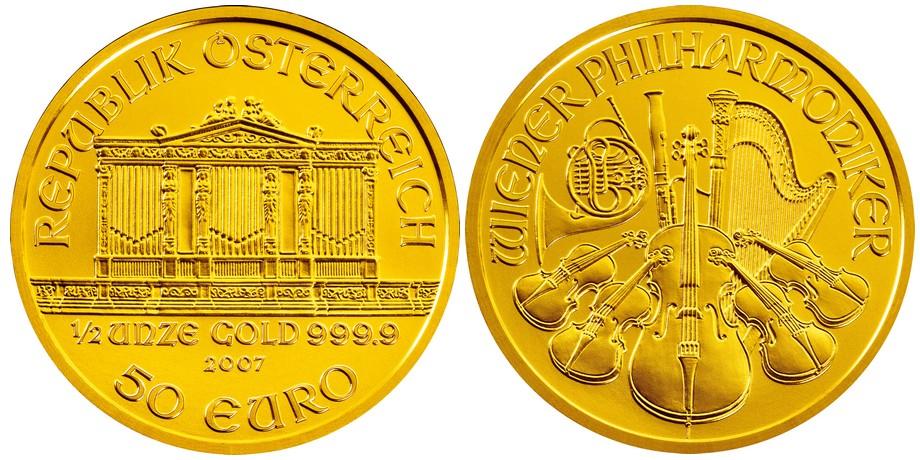 Bécsi Filharmonikusok aranyérme 1/2 uncia