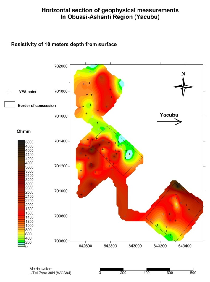 Horizontális metszetlap a geofizikai tanulmányból