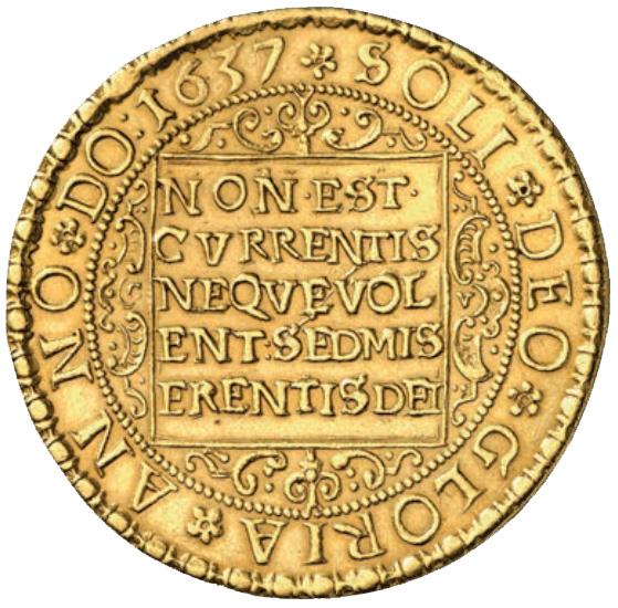 II. Rákóczi György erdélyi fejedelem (1630-1648) arany 10 dukátosa, a Künker cég 2014 tavaszi katalógusában 40.000 euróért lett licitre bocsátva.; Conclude Zrt.