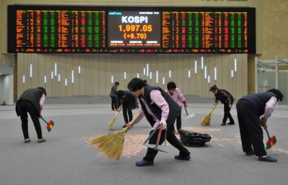 A koreai tőzsdén. Forrás: blogs.ft.com, Conclude Zrt.