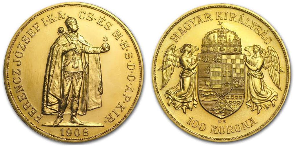 Magyar 100 koronás aranyérme 1908-as kiadás; Conclude Zrt.