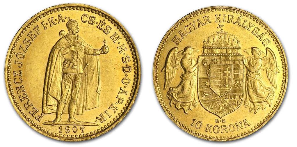 Magyar 10 koronás aranyérme 1907-as kiadás; Conclude Zrt.