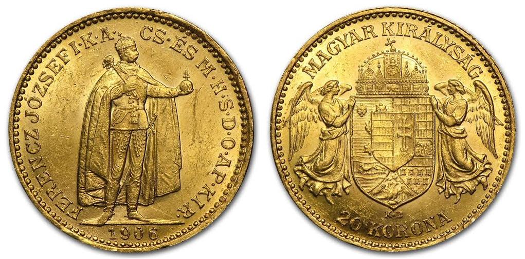 Magyar 20 koronás aranyérme 1906-as kiadás; Conclude Zrt.