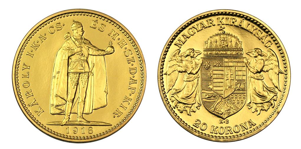 Magyar 20 koronás aranyérme 1918-as kiadás; Conclude Zrt.