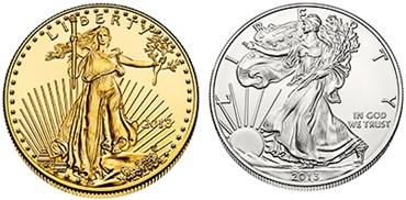 Az 1 unciás American Eagle arany- és ezüstérme előlapja. Forrás: U.S.Mint, Conclude Zrt.
