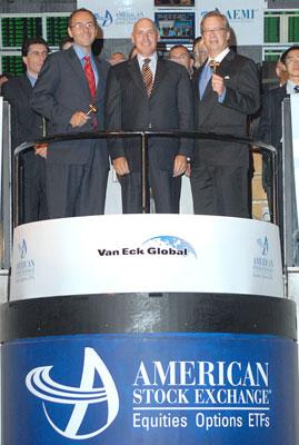 A Van Eck vezérkara az amerikai tőzsdén. Forrás: American Stock Exchange, Conclude Zrt.