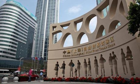 A sanghaji szabadkereskedelmi övezet. Forrás: Wu Hong/EPA, Conclude Zrt