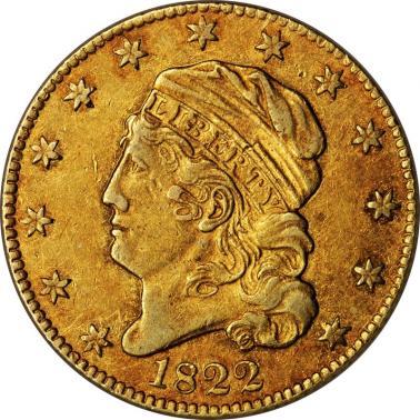 Az 1822-es Half Eagle ötdolláros darab. Forrás: Reuters, Conclude Zrt.
