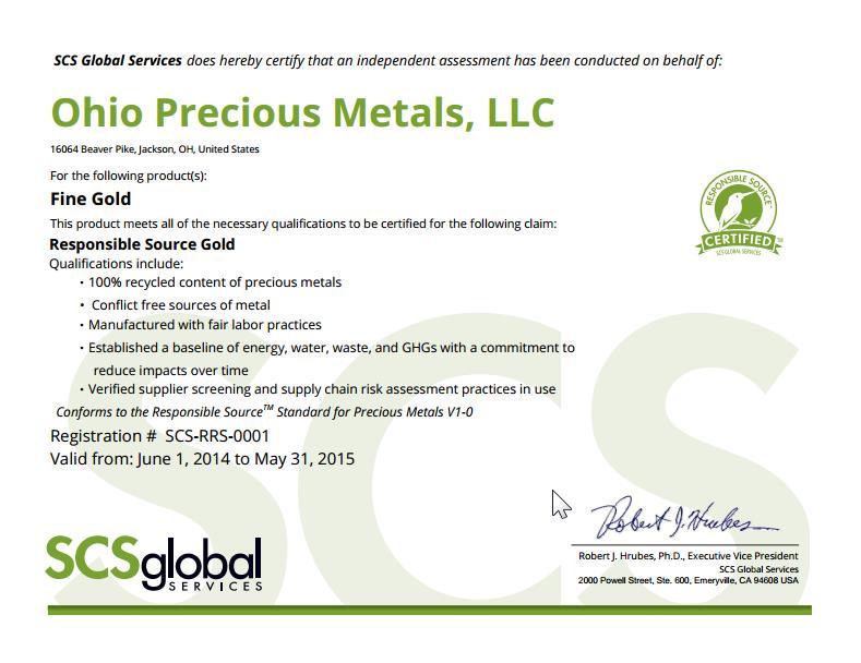 """SCS """"felelős arany"""" certifikát. A madaras logó az OPM 1 unciás lapkáján is megjelenik"""