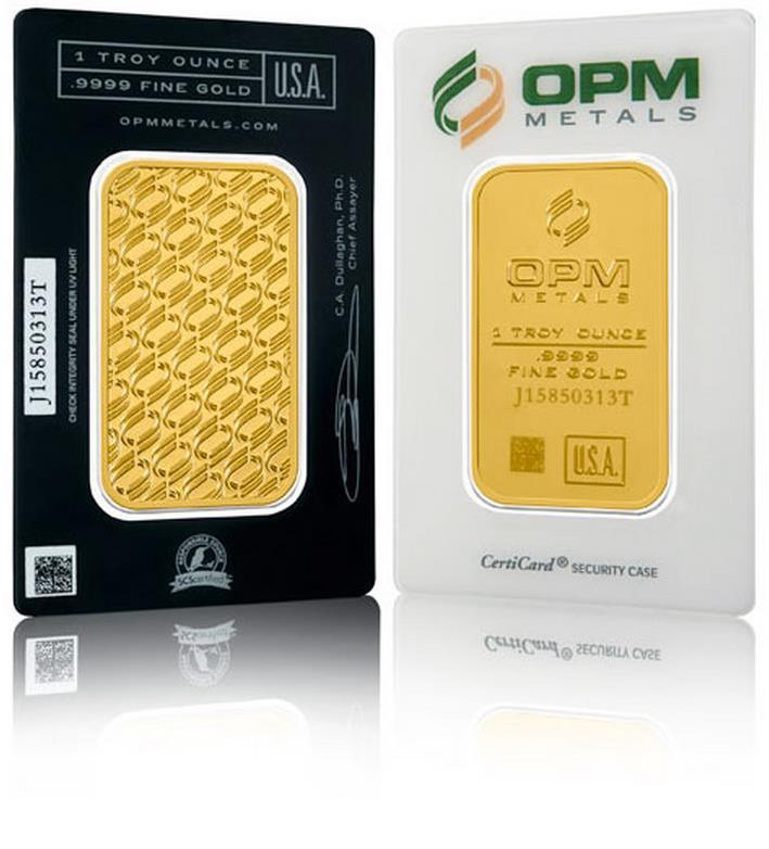 """Az OPM slágerterméke az 1 unciás aranylapka, rajta a felelős arany """"madaras"""" logója."""