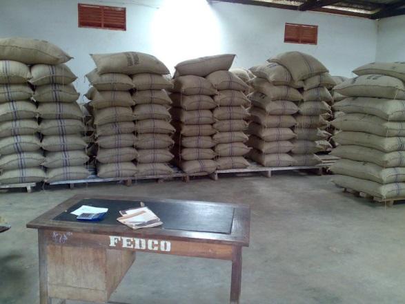 Kakaóbabok tárolása Ghánában. Fotó: Juhász Gergely 2011 Ashanti r.