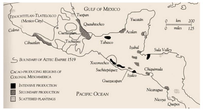 Azték kakaó termesztő régiók 1519-ben forrás: Coe&Coe The true history of chocolate