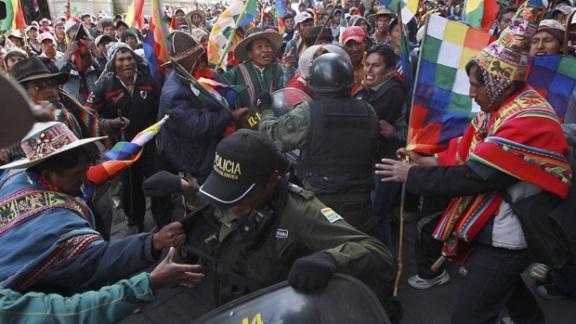 Tiltakozó indiánok Bolíviában. Forrás: www.cbc.ca, Conclude Zrt.